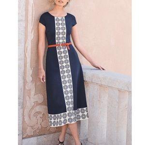 Boden Sz 10 Printed Ponte Dress EUC